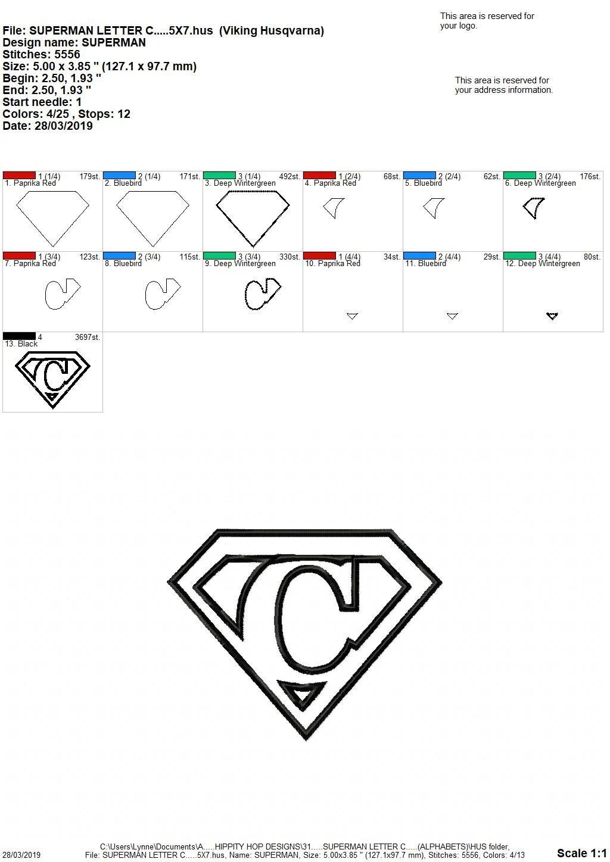 Superman Letter C...Applique Machine Embroidery DESIGN NO