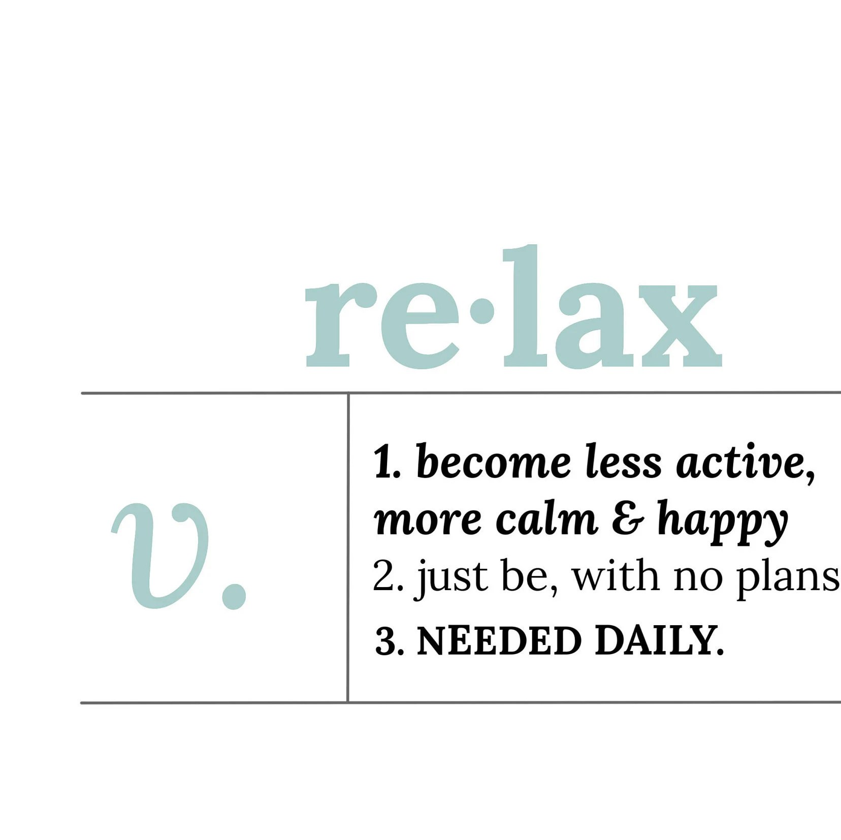 Relax Definition Black And White Color Dictionary Word | Etsy