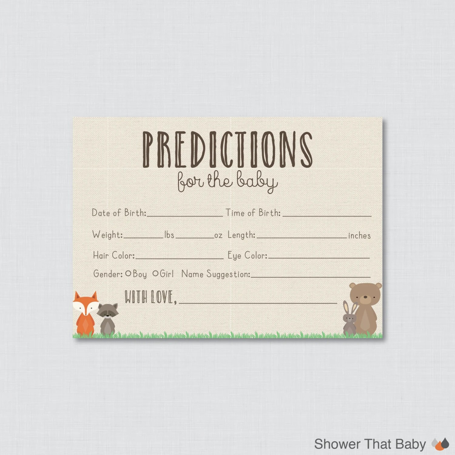Woodland Baby Shower Prediction Cards Printable Instant