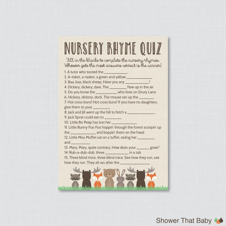 Woodland Baby Shower Nursery Rhyme Quiz Game Printable