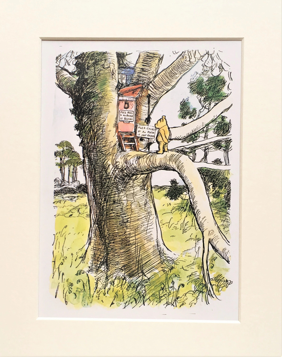 Owls House Winnie The Pooh : house, winnie, Large, Mounted, Winnie, Print, Owl's, House., Matted