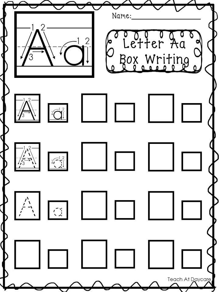 26 Printable Alphabet Box Writing Worksheets. Preschool