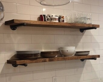 wood shelves kitchen cabinets phoenix wall etsy one extra long 12 deep rustic industrial floating two iron pipe brackets storage
