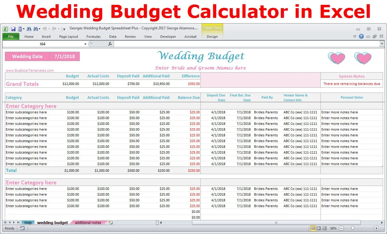 Wedding Budget Cost Calculator Excel Spreadsheet Template