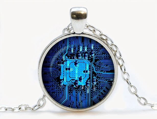 Circuit Board Glass Pendant Photo Glass By Cassiejewelryncrafts