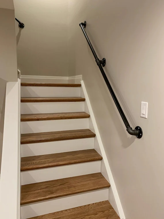 Industrial Pipe Railing Rustic Industrial Handrail Metal Etsy | Rustic Banisters And Railings | House | Pallet | Veranda | Farmhouse | Solid Wood