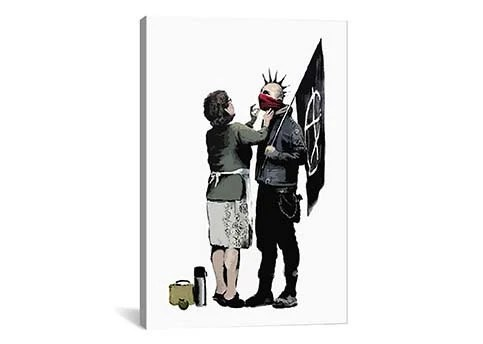 Anarchist And Mother By Banksy Canvas Print Gallery Framed