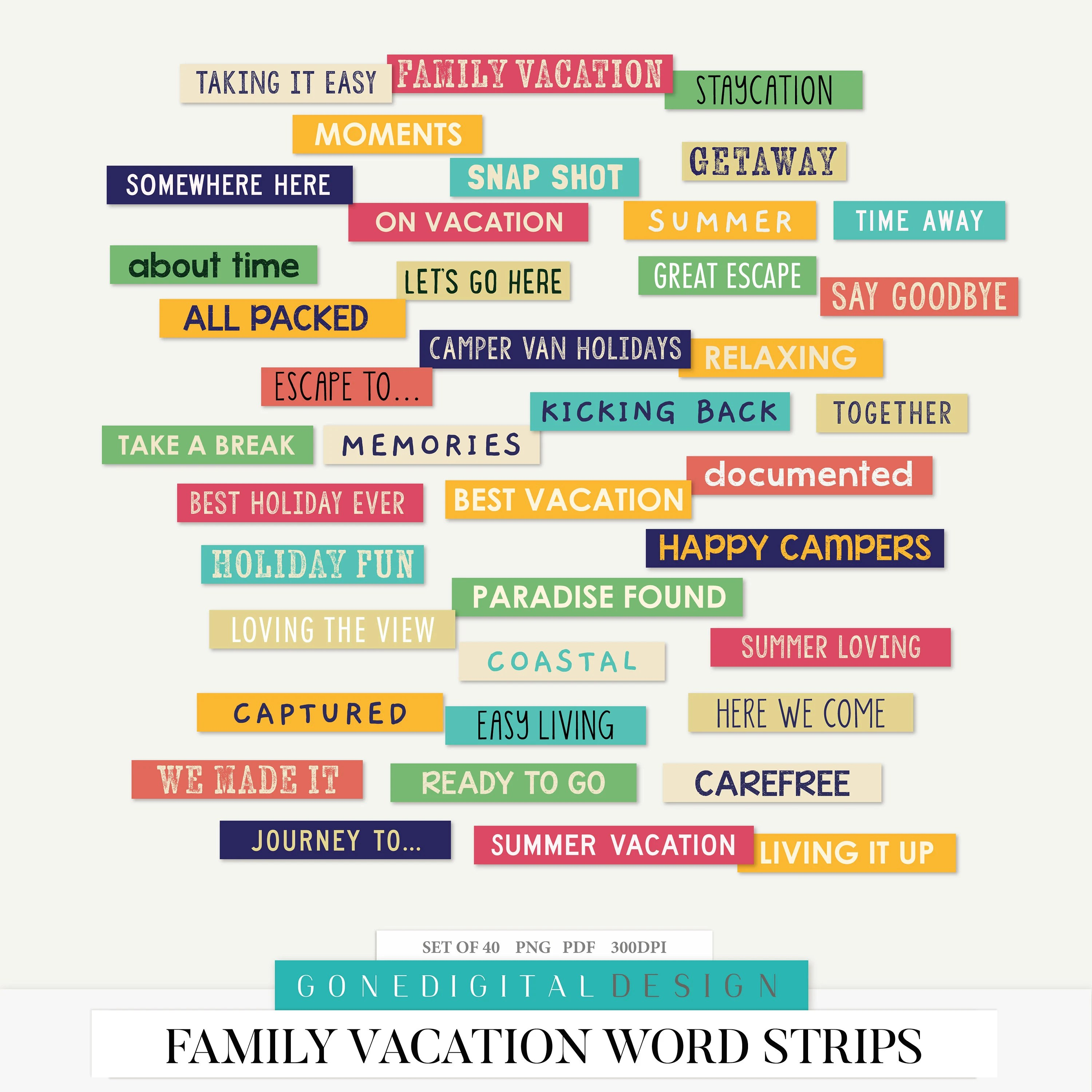 Family Vacation Png Vacation Word Art Word Phrases Word Tags Etsy