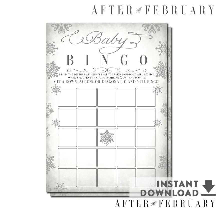 Winter Baby Shower Bingo Game Card Glitter Snowflake Baby