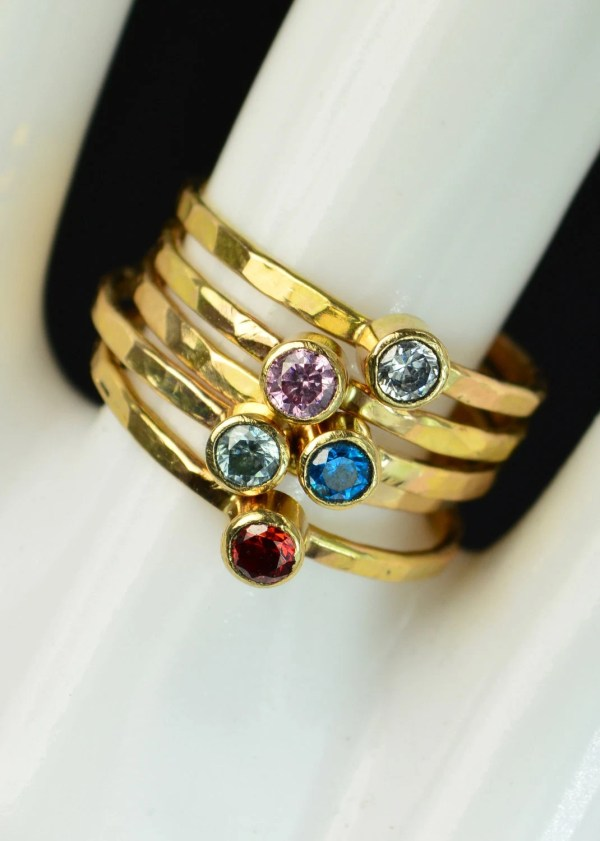 Grab 5 Classic 14k Gold Filled Birthstone Rings Solitaire Ring