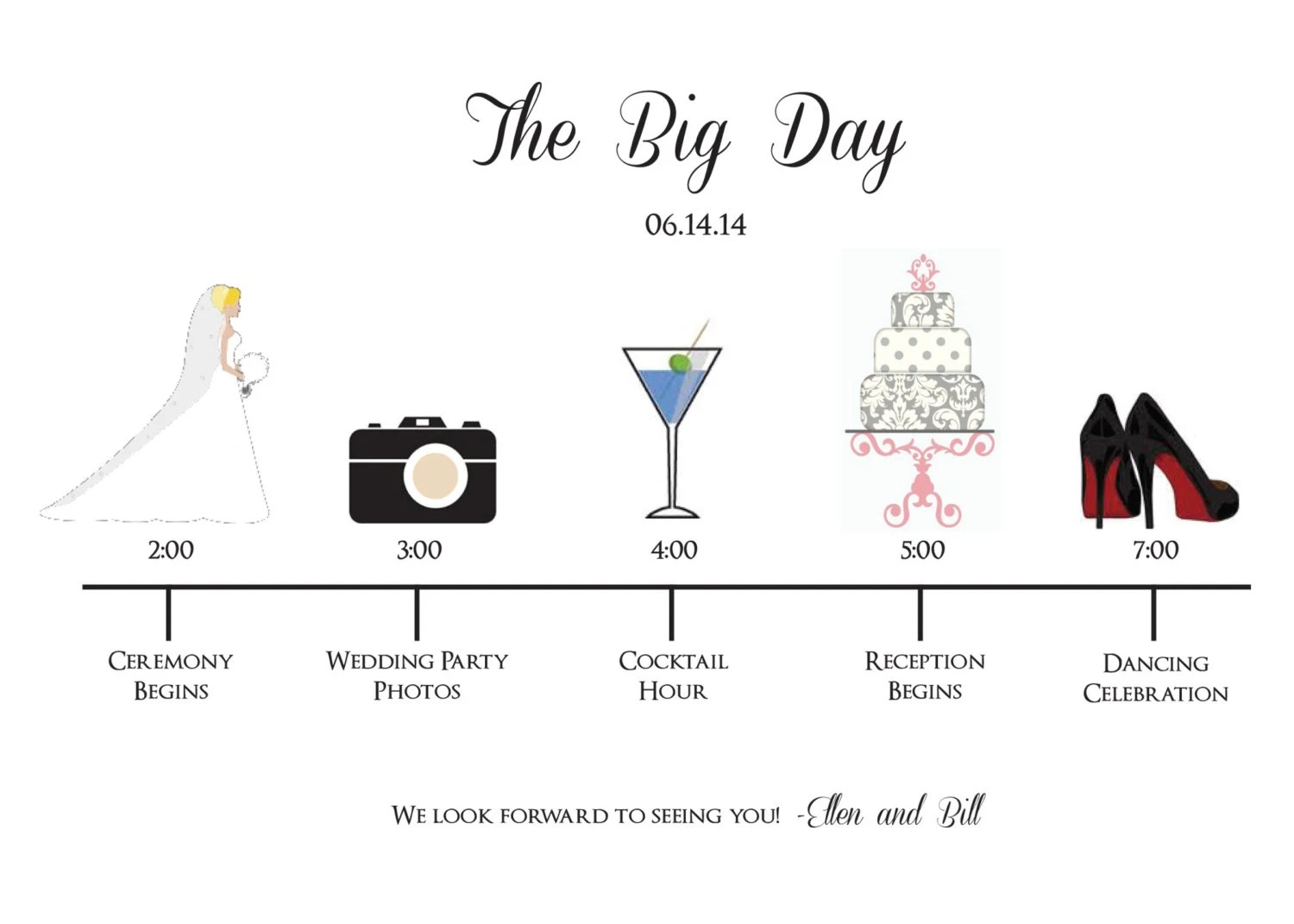 Wedding Party Schedule Timeline with Icons Customized and