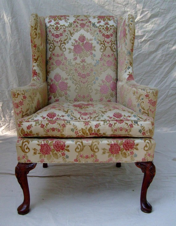 hickory chair co build deck chairs vintage english cottage style wingback by etsy image 0