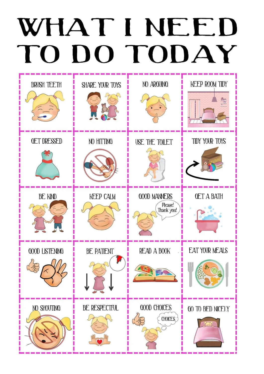 Girls behaviour chart with pictures routine daily planner printable visual aid rewards adhd sen pecs autism instant download also for boys toddler etsy rh
