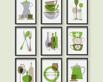 green kitchen decor faucet reviews etsy print dining room wall art modern gray