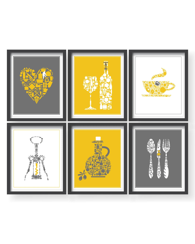 kitchen decor yellow antique sinks etsy prints gray wall art set of 6 modern dining room print