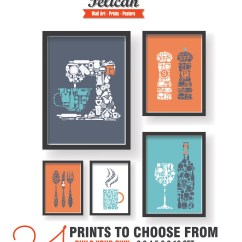 Modern Kitchen Art Outdoor Oven Colorful Dining Room Wall Etsy Decor Set Of 5 Prints
