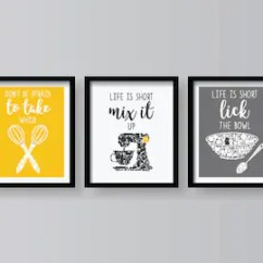 Kitchen Decor Yellow Microwave Stand For Etsy Funny Quotes Art Print Prints Gray