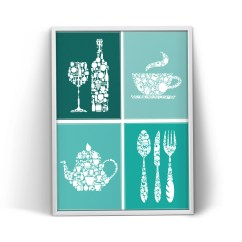 Turquoise Kitchen Decor Dinettes Etsy Print Wall Art Poster Teal Icons Variations Dining Room