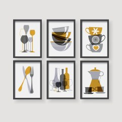 Kitchen Decor Yellow Etsy Modern Mustard Wall Art
