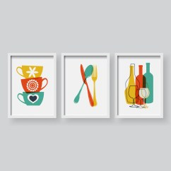 Modern Kitchen Art 60 Inch Island Colorful Dining Room Wall Etsy Lovely Decor Prints Set Poster Of 3