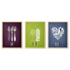Green Kitchen Decor Cost To Renovate A Etsy Burgundy Blue Wall Art Print Set Eat Drink Love Dining Room