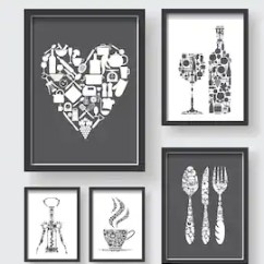 Modern Kitchen Art Microwave Cart Etsy Gray White Dining Room Wall Print Set Of 5 Prints