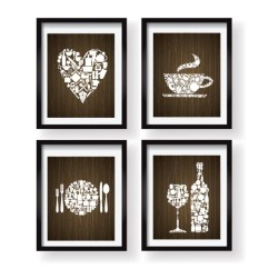 Artwork For Kitchen Counter Overhang Etsy Decor Wall Art Set Print