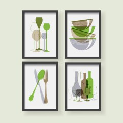 Green Kitchen Decor How To Make An Outdoor Etsy Print Dining Room Wall Art Modern Gray