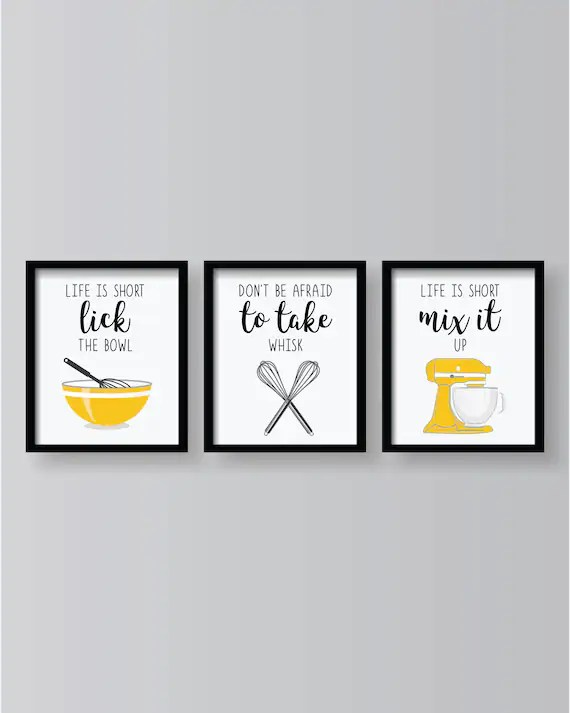 kitchen prints cabinet franchise yellow funny decor posters set dining room wall art of 3 image 0