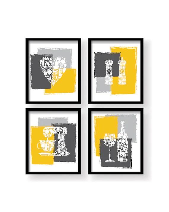 modern kitchen art custom tables mustard yellow print dining room wall etsy image 0