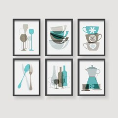 Turquoise Kitchen Decor Ikea Designs Brown Prints Wall Art Etsy Set Of 6 Modern Print