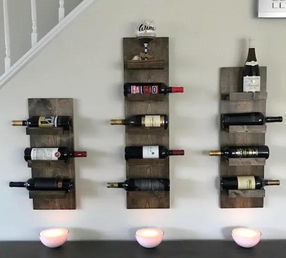 rustic wine rack spice rack wall mounted wine bottle holder etsy