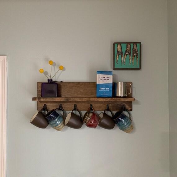 coffee cup mug rack with shelf rustic modern wood wall etsy