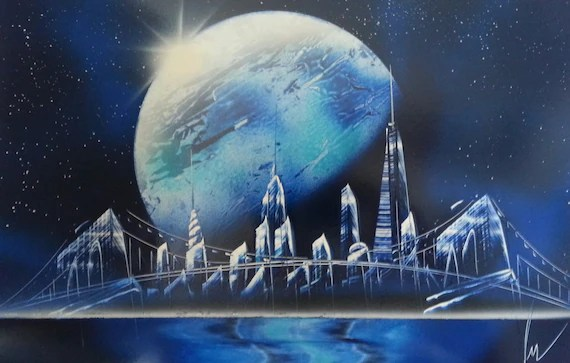 SPRAY Paint Art New York Space Space Painting | Etsy