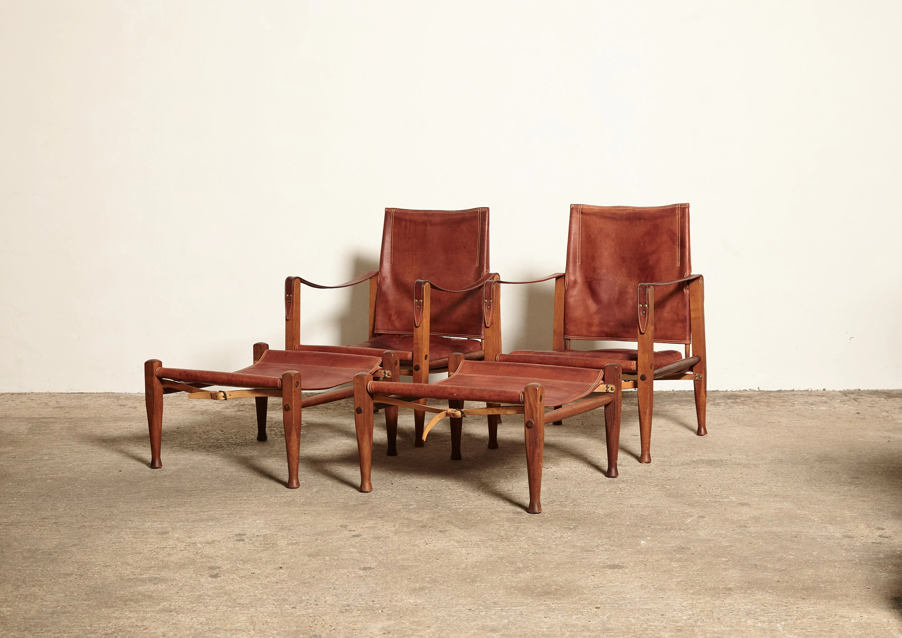 Safari Chairs A Rare Pair Of Kaare Klint Safari Chairs With Ottomans Rud Rasmussen Denmark 1950s Free Shipping Worldwide