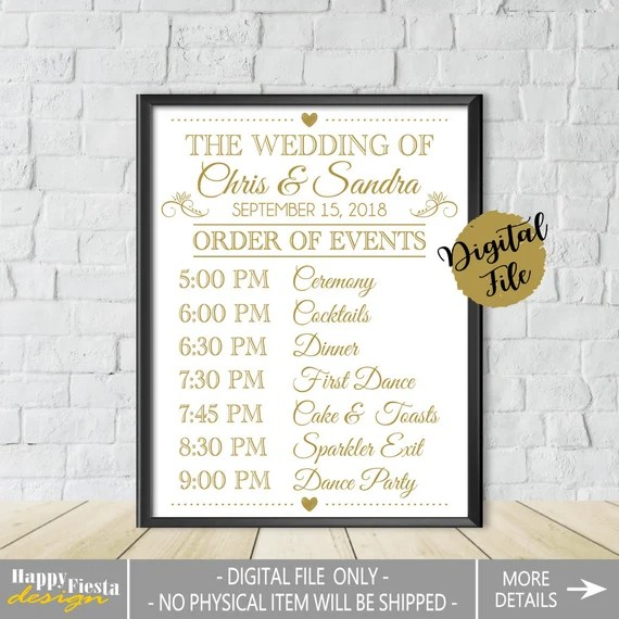 Printable Order Of Events Sign Wedding Day Schedule Wedding Day Timeline Printable Wedding Sign Wedding Itinerary Sign Wedding Timeline Sign By Happy Fiesta Design Catch My Party