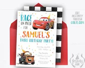 cars 2 invitation etsy