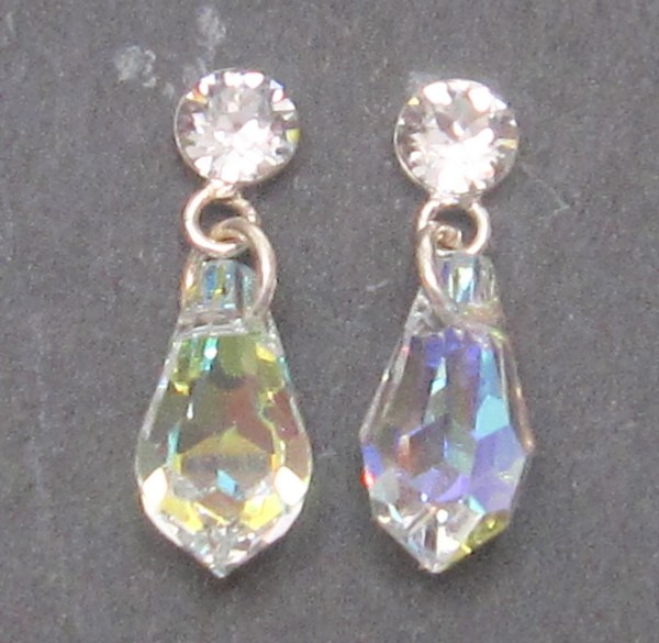 Sterling Silver And Ab Stone Drop Earrings. 18mm