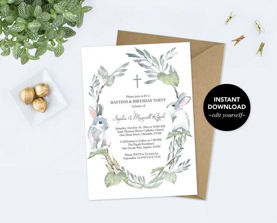 baptism and birthday invitation bunny