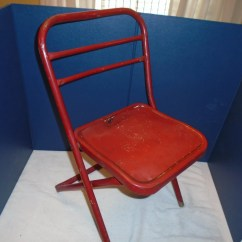 Blue Metal Folding Chairs Old High Chair Ideas Childs Etsy Vintage Hampden Kids Pre School