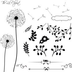 Dandelion clipart Floral Clipart Flower Clipart Scrapbook Etsy