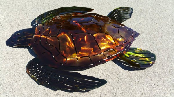 Sea Turtle Wall Art Metal Hand