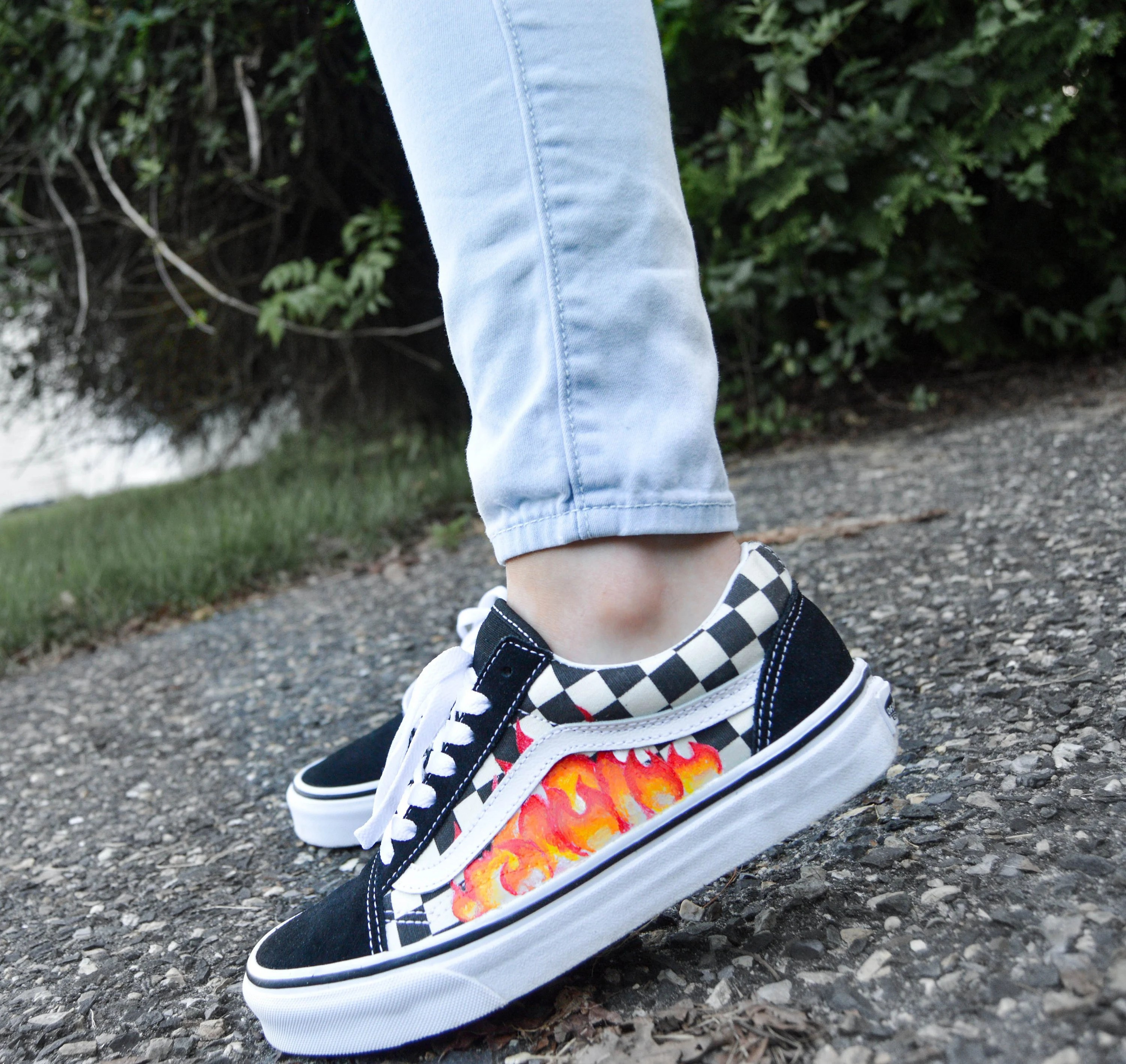 checkerboard vans with flames