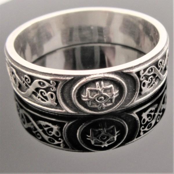 Celtic Warrior Band Oxidized Shield Ring Wedding