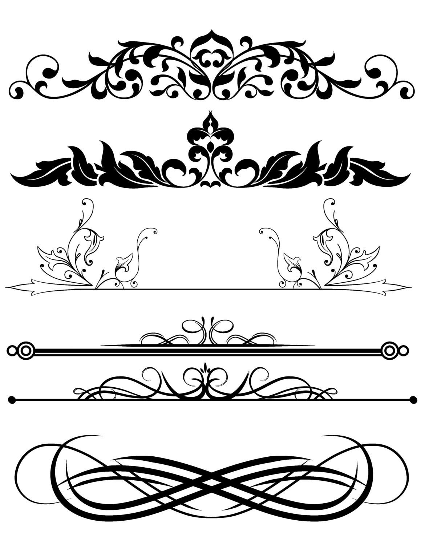 Design Clipart Mix Frames Scroll Divider Digital Download