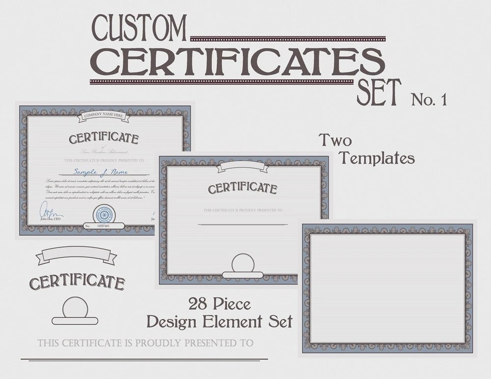 Certificate Template Set Instant Download Customize