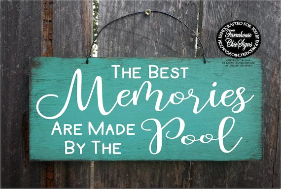 deck patio pool signs
