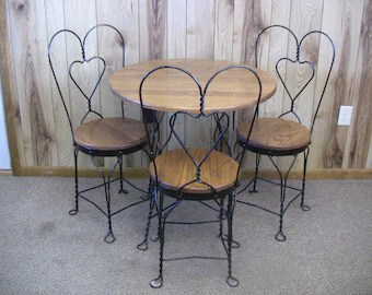 ice cream table and chairs folding deck ikea parlor set etsy vintage chair oak wood wrought iron bistro cafe patio furniture kitchen nook available