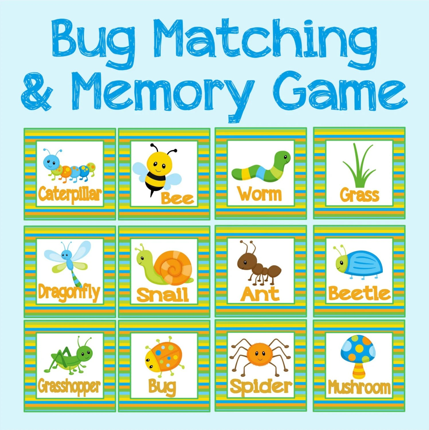 Bug Fun Memory And Matching Game Instant Digital Download