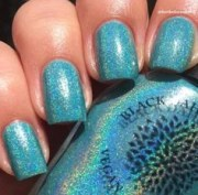 teal holo with blue shimmer nail